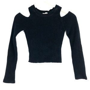 Anthropologie Cut Out Cold Should Sweater Crop Top